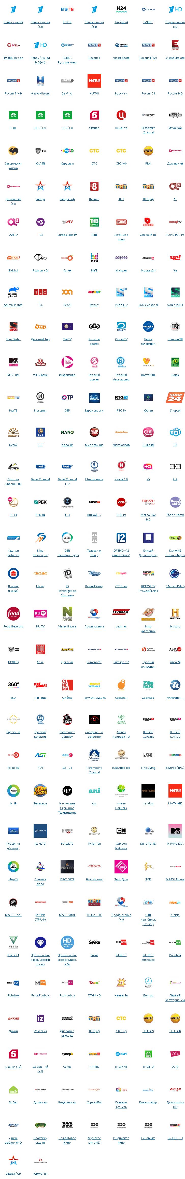 Все телеканалы пакета Премьер